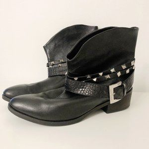 Janet & Janet Black Leather Studded Ankle Boots